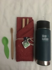 Reusable straw, toothbrush and water bottle