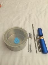 Reusable cutlery and take away tin